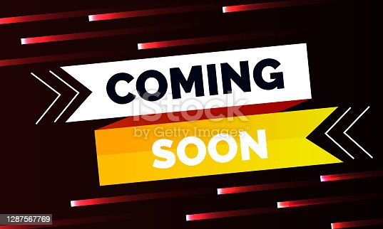 istock Neon style coming soon glowing background design 1287567769