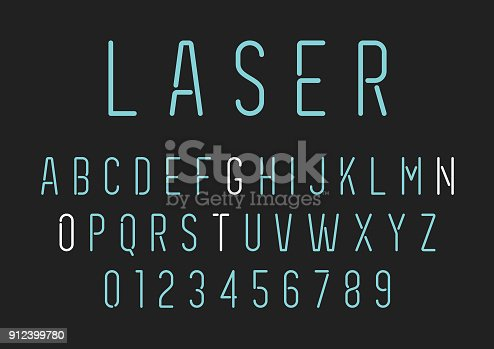 Neon Style Lettering - Alphabet Set Vector EPS File.