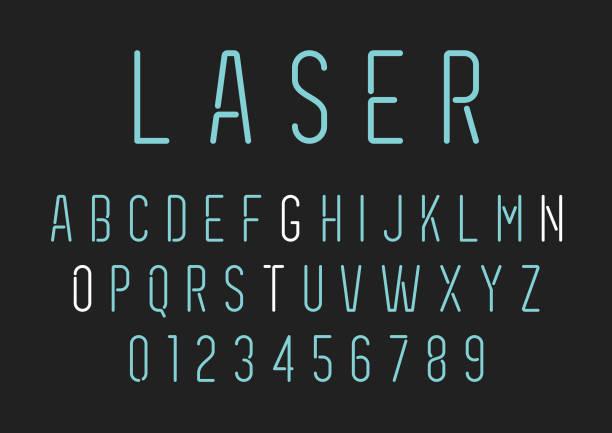 neon style lettering - alphabet set - alphabet clipart stock illustrations