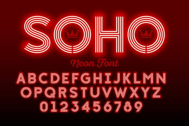 bildbanksillustrationer, clip art samt tecknat material och ikoner med neon stil moderna typsnitt - disco lights