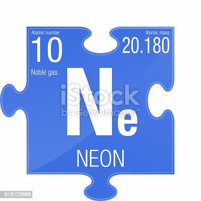 Neon Symbol Element Number 10 Of The Periodic Table Of The Elements
