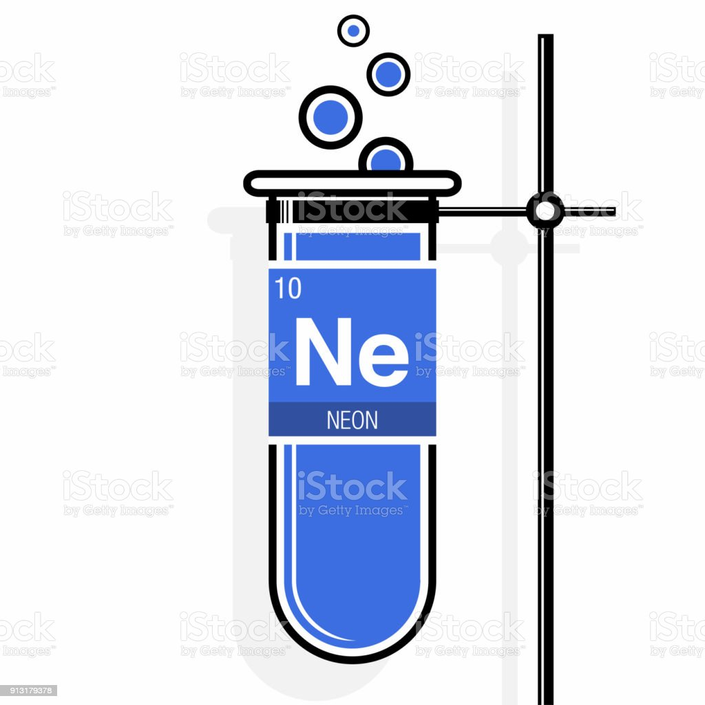 Neon Symbol On Label In A Blue Test Tube With Holder Element Number