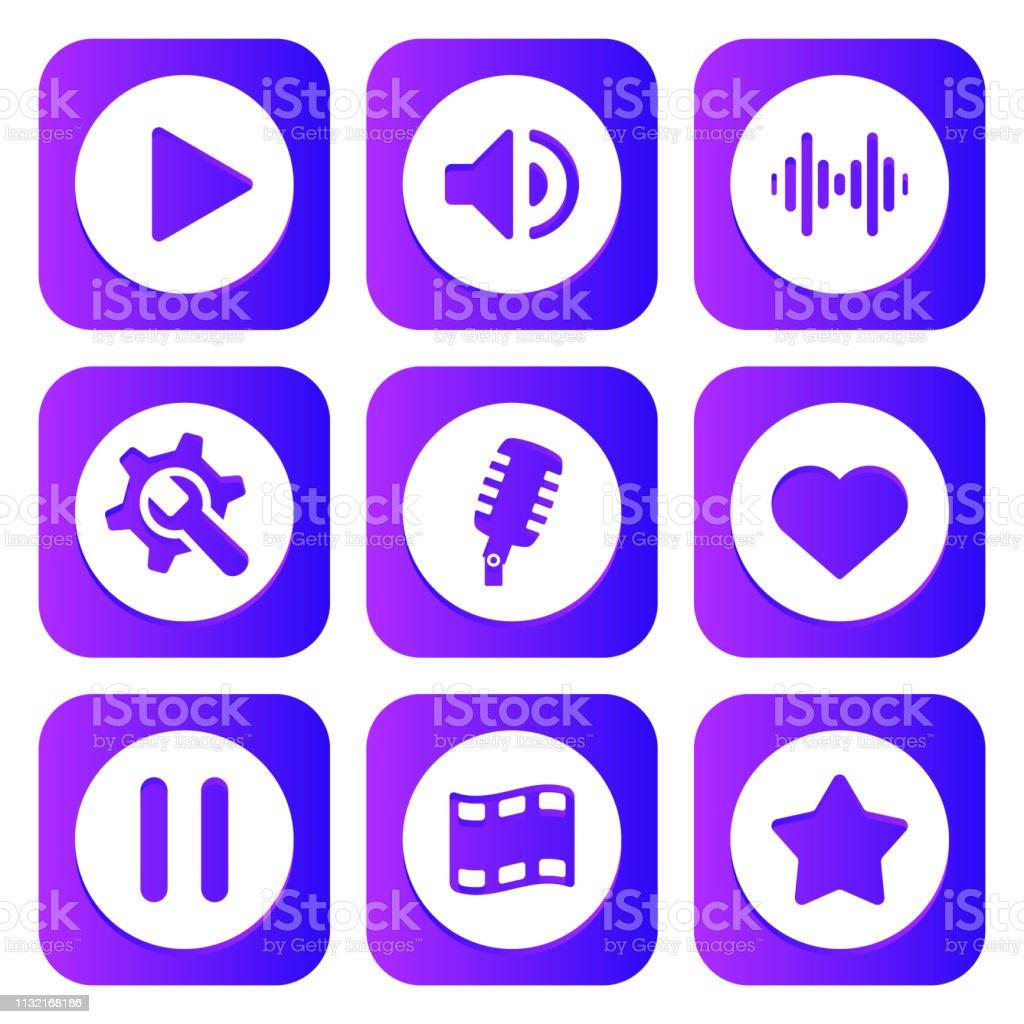 Neon Synthwave Retro 80s Style Multimedia Icons Stock