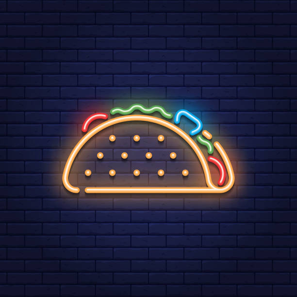 neon taco mexican food icon logo - food delivery stock illustrations