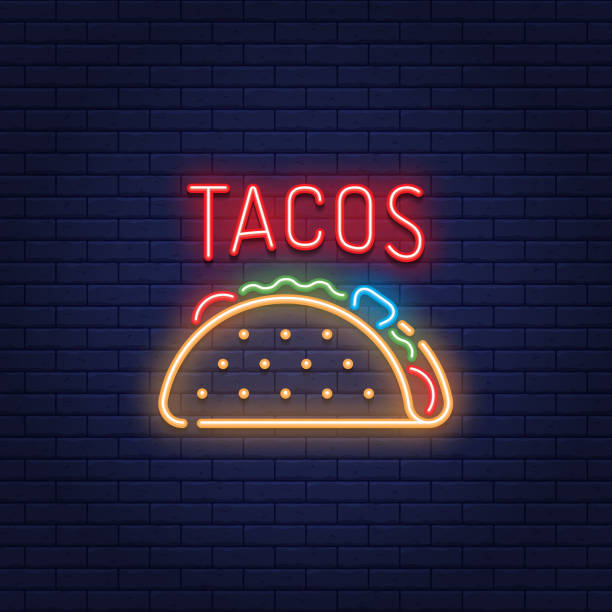 neon taco mexican food  logo - food delivery stock illustrations