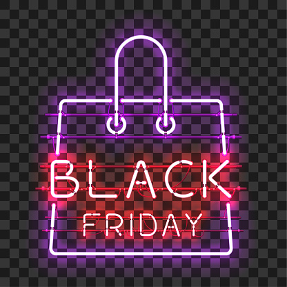 Black Friday Neon Text In Frame In Form Of Bag Stock