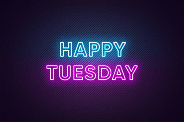 neon text of happy tuesday. greeting banner, poster with glowing neon inscription for tuesday - happy holidays stock illustrations