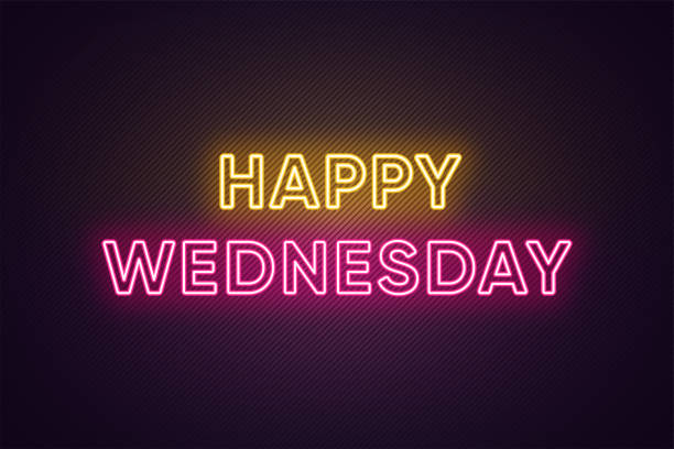 neon text of happy wednesday. greeting banner, poster with glowing neon inscription for wednesday - happy holidays stock illustrations
