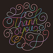 modern neon Thank you calligraphy design over black background
