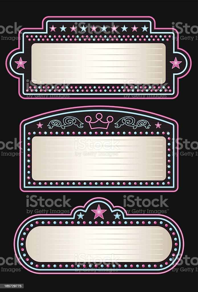 Neon Theater Marquees royalty-free stock vector art