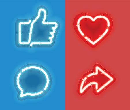 Neon Thumbs up and heart icon with repost and comment neon signs icons on red and blue background.
