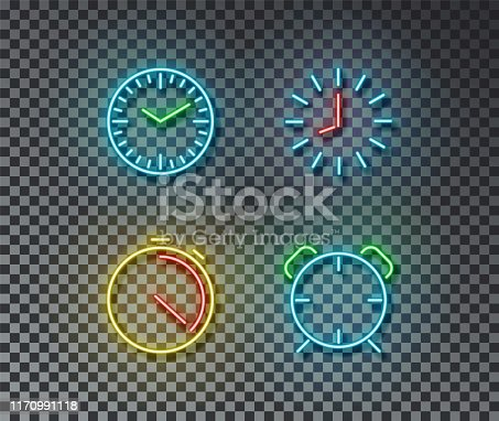 istock Neon time signs vector isolated on brick wall. Timer, clock, stopwatch, alarm light symbol, decorati 1170991118