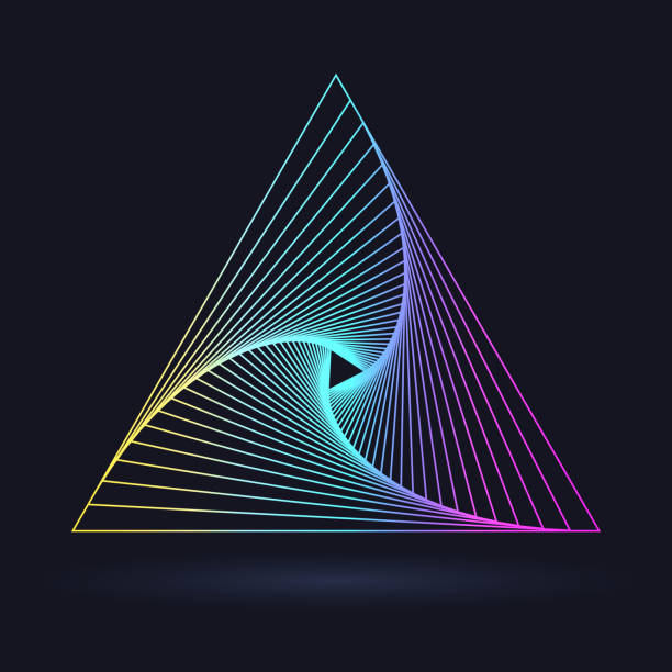 Neon triangle Neon triangle with a spiral, logo on a black background triangle shape stock illustrations