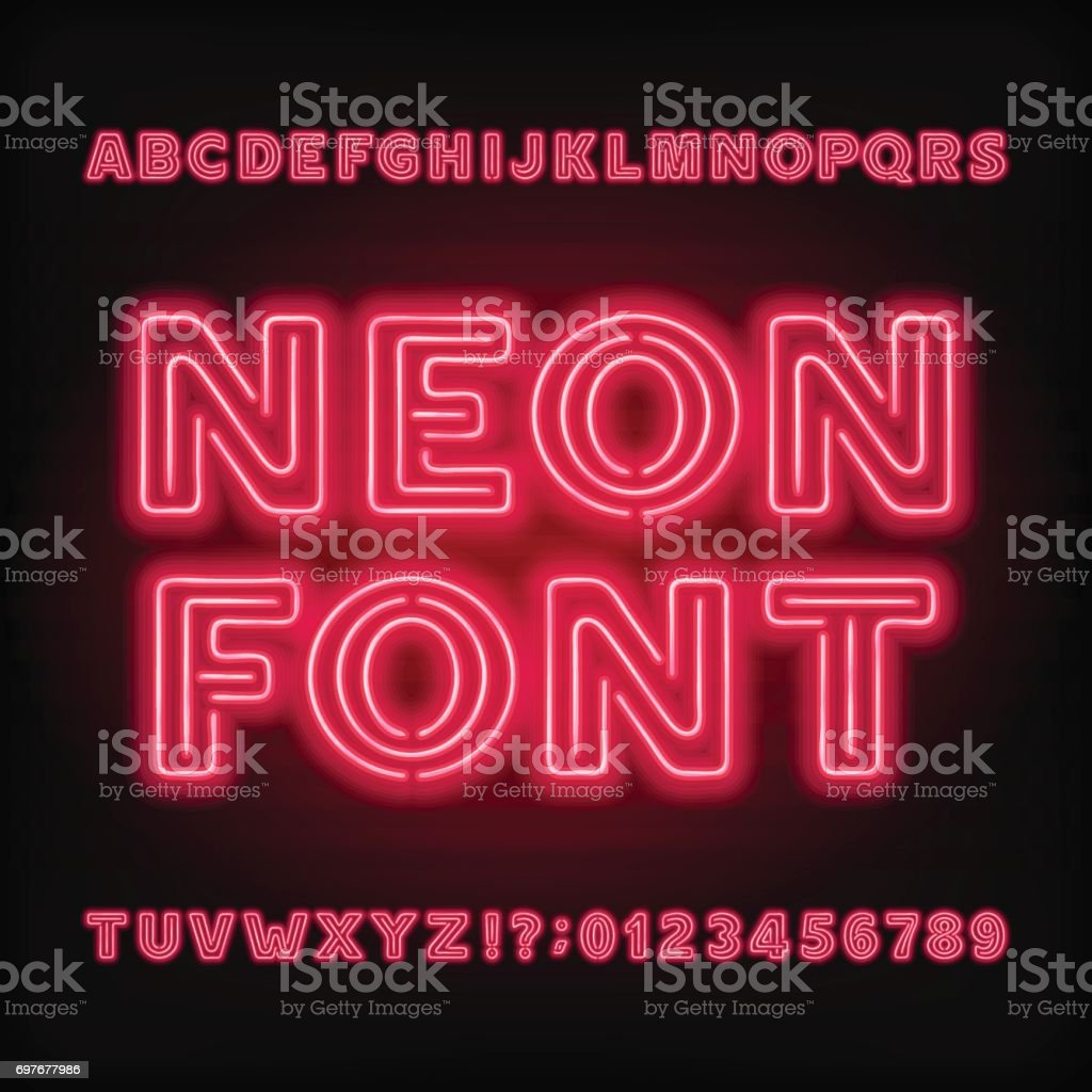 Neon tube alphabet font. Bold type letters and numbers. vector art illustration