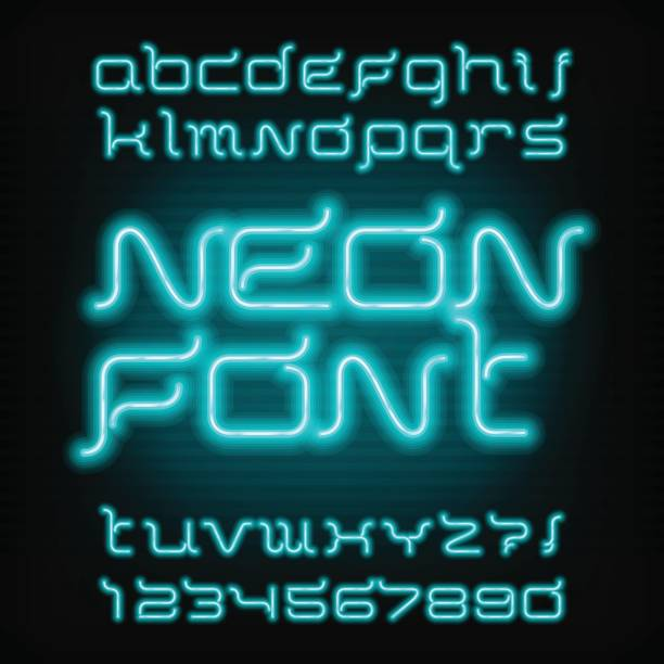 Neon Tube Alphabet Font Futuristic Vector Typography stock