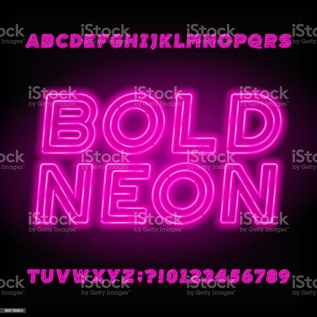 Neon Tube Alphabet Font Neon Color Bold Letters Numbers And Symbols ...