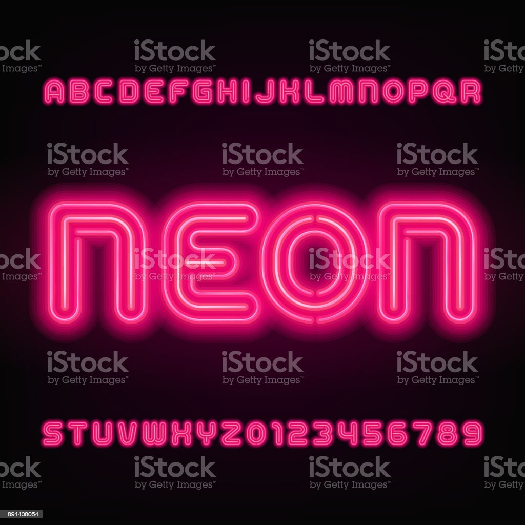Neon Tube Alphabet Font Red Color Letters And Numbers Stock Vector ...