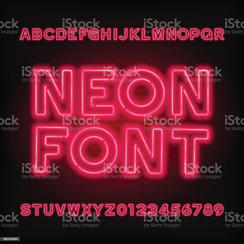 Neon tube alphabet font. Red color type letters and numbers. vector art illustration