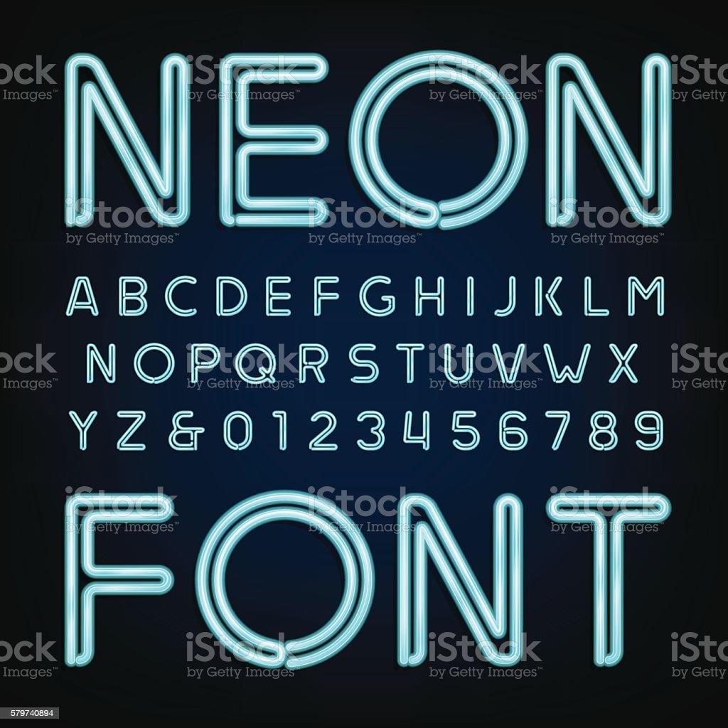 Neon tube alphabet font. vector art illustration