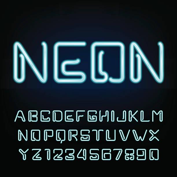 neon tube alphabet font. - farbintensität stock-grafiken, -clipart, -cartoons und -symbole