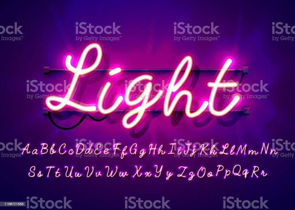 네온 튜브 손으로 그려진 알파벳 글꼴입니다. 어두운 배경에 스크립트 유형 문자입니다. 레이블, 제목 또는 포스터에 대한 벡터 서체입니다. - 로열티 프리 개체 그룹 벡터 아트