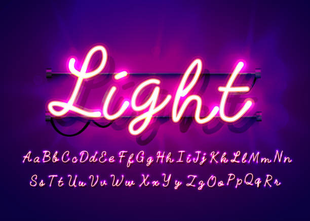 neonowa rurka ręcznie rysowana czcionka alfabetu. litery typu skrypt na ciemnym tle. wektorowy kroju czci dla etykiet, tytułów lub plakatów. - neon stock illustrations