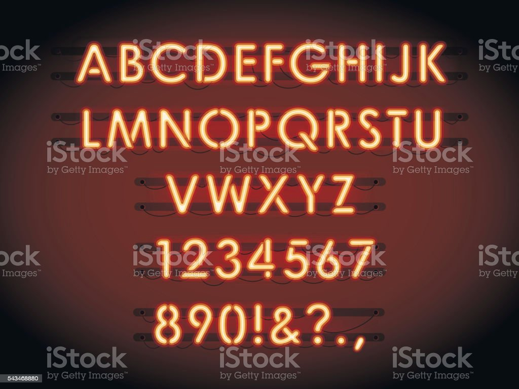 Neon tube letters vector vector art illustration