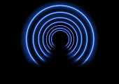 Modern background with neon tunnel effect