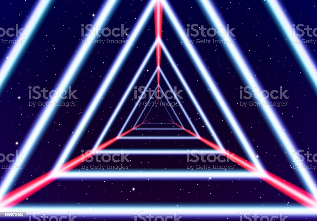 Neon tunnel in space with 80s styled lazer lines - Royalty-free 1980 stock vector