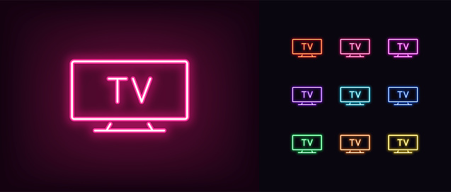 Neon tv icon. Glowing neon television sign, set of isolated widescreen tv display