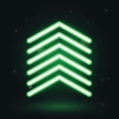 Neon up arrow, vector illusrtration