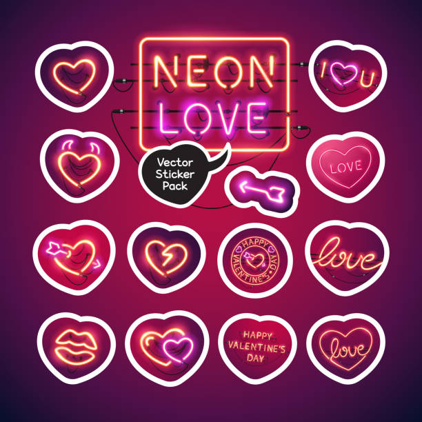 neon valentines day sticker pack - date night stock illustrations