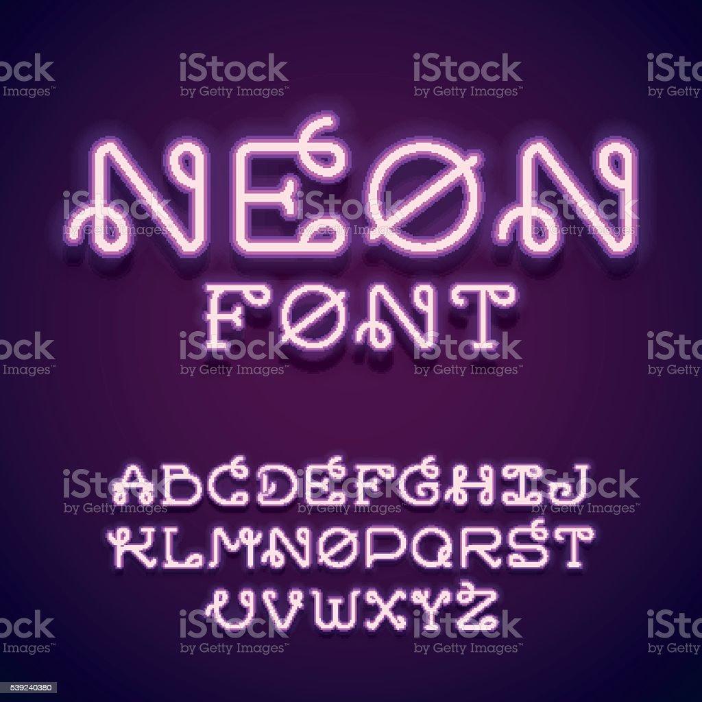Neón vector de fuente. ilustración de neón vector de fuente y más banco de imágenes de abstracto libre de derechos