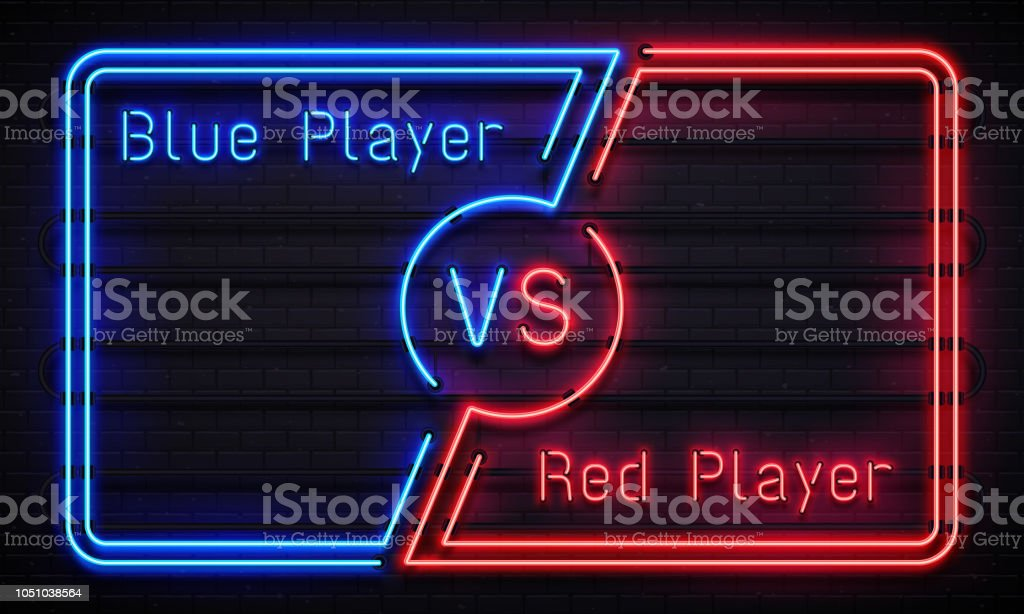 Neon Versus Frame Battle Competition Blue And Red Players Team