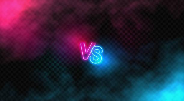 Neon Versus Logo. VS Vector Letters Illustration. Competition Icon. Fight Symbol. vector art illustration