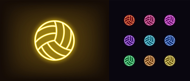 Neon volley ball icon. Glowing neon volleyball sign, outline ball pictogram