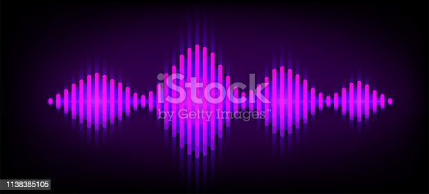 Neon wave sound vector background. Music soundwave design, purple light elements isolated on dark backdrop. Radio frequency beat lines.