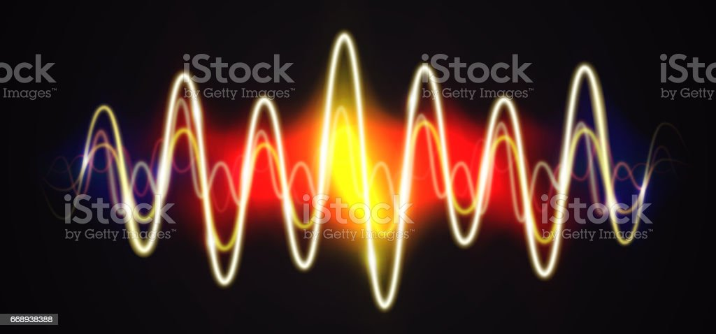 Neon waveform shiny music sign with flares vector art illustration