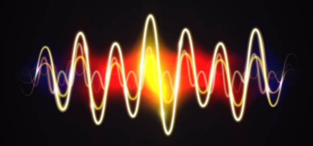 neon waveform shiny music sign with flares - sine wave stock illustrations