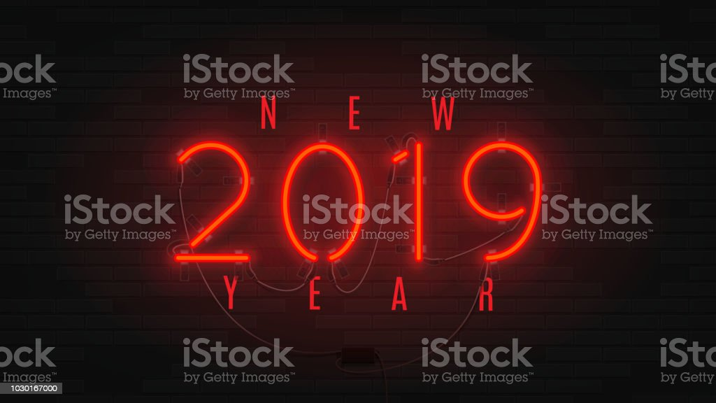 neon web banner for happy new year 2019 royalty free neon web banner for happy