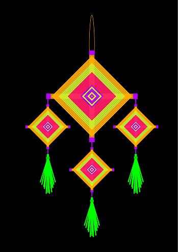 Neon yellow pink orange green violet god's eyes hanging mobile on black background