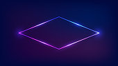 Neon rhombus frame with shining effects on dark background. Empty glowing techno backdrop. Vector illustration.
