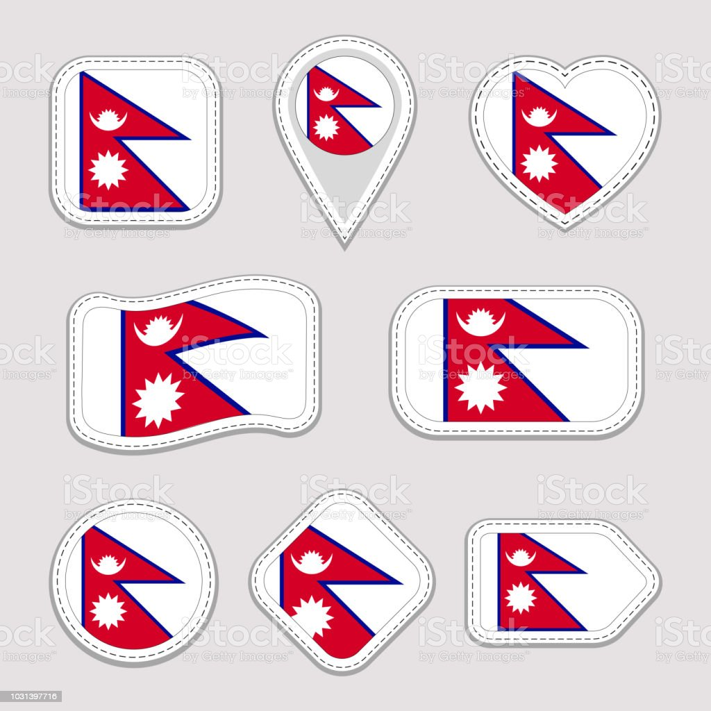 Nepal Flag Vector Set Nepalese Flags Stickers Collection Isolated