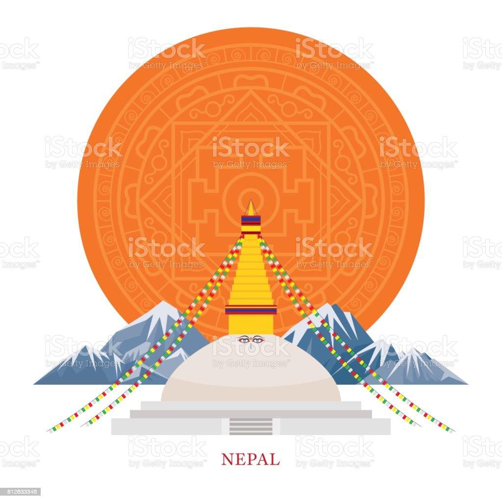 Nepal Landmarks with Decoration Background vector art illustration