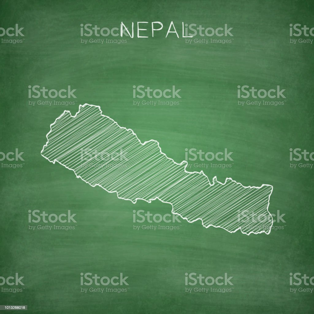 Nepal Karte Download.Nepal Map Drawn On Chalkboard Blackboard Stock Illustration