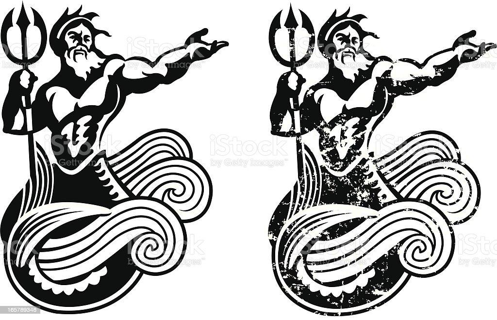 Neptune - King of the Sea vector art illustration
