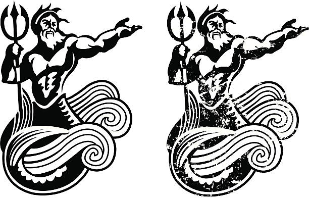 """Neptune - King of the Sea Neptune. Graphic illustration of Neptune, King of the Sea. Use with or without the grunge. Check out my """"Ships, Sailing & Sea"""" light box for more. god stock illustrations"""