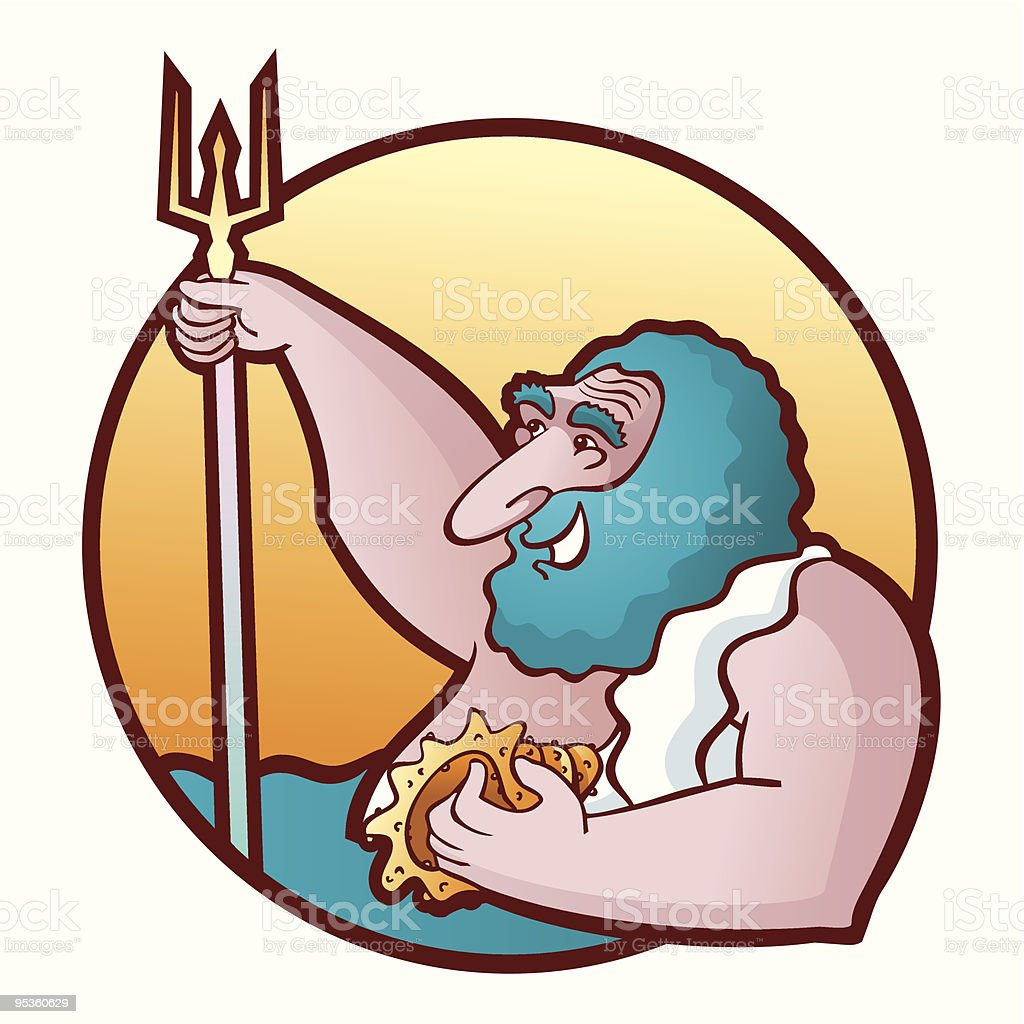 Neptune Poseidon royalty-free stock vector art