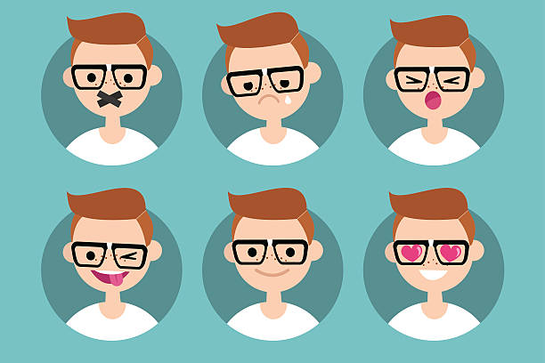 nerd boy profile pics - nerd stock-grafiken, -clipart, -cartoons und -symbole