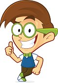Clipart picture of a nerd geek cartoon character leaning on an empty block